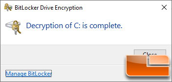 BitLocker Turn off - Decryption Complete