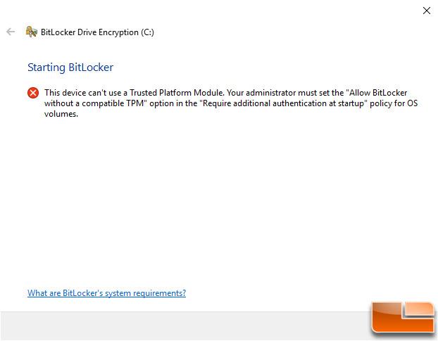 No TPM - Allow BitLocker